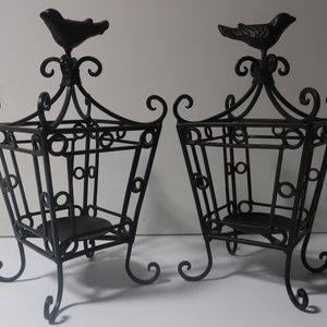 2 Black Wrought Iron Bird House Candleholders 10x6